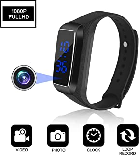 Aipinvip Hidden Camera HD 1080P Camera Recording Loop Recording time Display Sports Bracelet Shielded Surveillance DVR