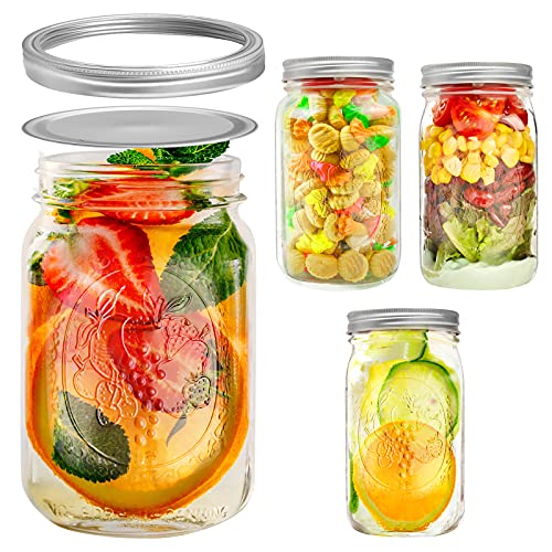 Wide Mouth Large Mason Jars 32 oz Canning with Lids, Ball Canning Lids Mason Jar for Food Storage, Canning, Salads, Jam, Cookies, Honey and DIY Decoration (Set of 4)