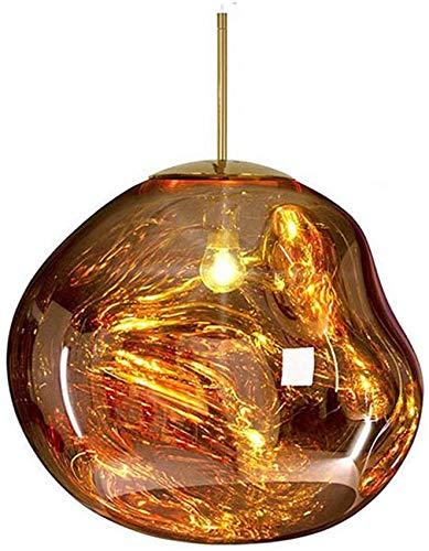 Lámpara de techo colgante para cristal de lava, poste, moderno, hermoso espejo de fusión, lámpara de techo, forma Lrregular para sala de estar, dormitorio, restaurante (oro, 20 cm)