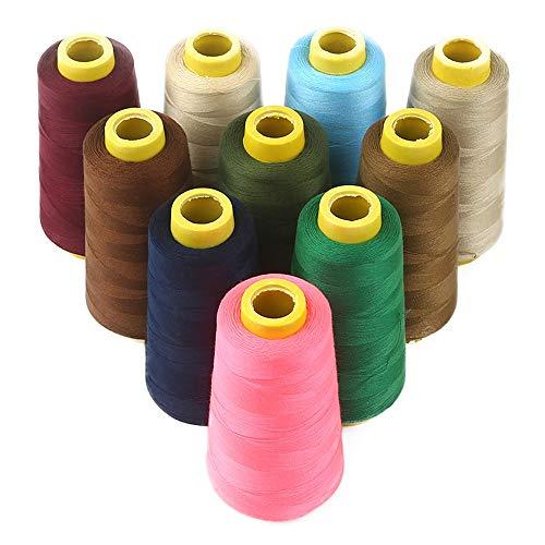 Hilo de Coser, Carrete 3000 Yardas Hilo de algodón Puro Carretes Coloridos para Coser a Mano y a máquina