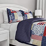 2-Piece Quilt Set – Nautical Americana Patchwork Print All-Season Soft Microfiber Bedspread with Shams - Bedding by LHC (Twin)