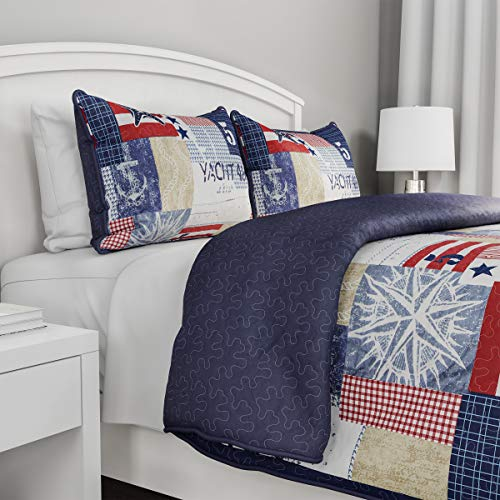 2-Piece Quilt Set – Nautical Americana Patchwork Print All-Season Soft Microfiber Bedspread with Shams – Bedding by LHC…