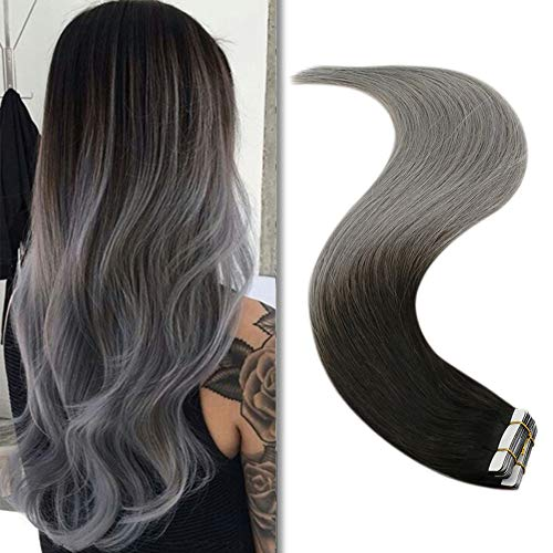 YoungSee Remy Extensions Tape Ombre Schwarz bis Blau Grau Seamless Tape in Haarextensions 20 Stuck 50g 100% Echt Extensions Echthaar Tape in Glatt Haare Verlangerung 40 cm