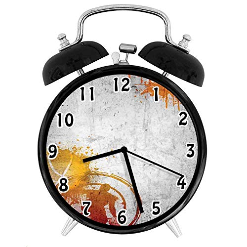 22yiihannz Sports Silent Luminous Alarm Clock,Basketball Streetball and Paint Stains on Concrete Wall Rustic ation-No Ticking,Soft Night Light,The Best Gift for Family or Friends-3.8 inch