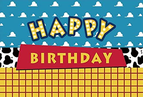 Niños cumpleaños Juguete telón de Fondo niños Historia niñas bebé Dibujos Animados cumpleaños Fiesta fotografía Fondo para niños A3 7x5ft / 2,1x1,5 m
