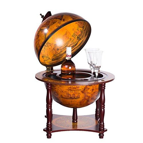 Sarah B 36006 Bar mappemonde vintage en bois d'eucalyptus massif avec pieds Bar - Globe terrestre antique Table de bar Chariot de bar Globe terrestre Bar à cocktails Bar décoratif 71 cm de haut sur 44 cm de large
