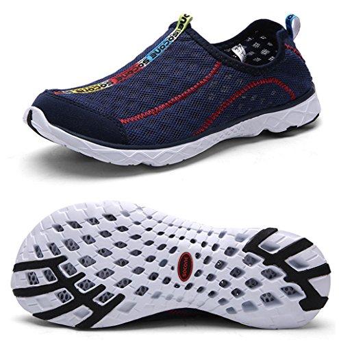 Yotani Mens / Womens Lightweight Soft Mesh Draining Holes Slip-On Beach Walking Pool Swimming Water Shoes Navy Size 7.5 US Women