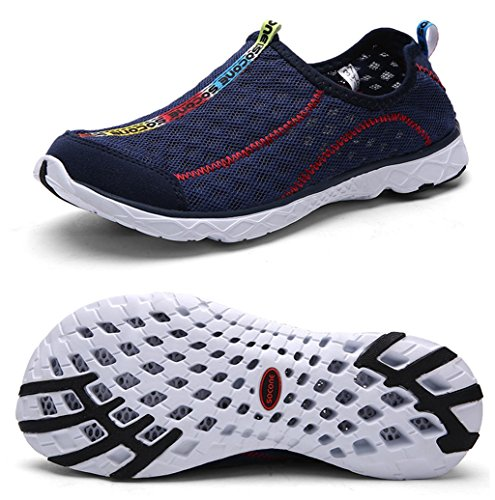 Yotani Mens / Womens Lightweight Soft Mesh Draining Holes Slip-On Beach Walking Pool Swimming Water Shoes Navy Size 7.5 US Women