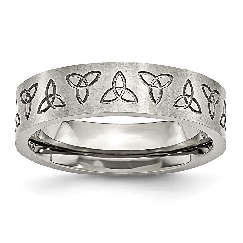 Solid Stainless Steel Engraved Trinity Irish Celtic Knot Symbol Matte Brushed Finish 6mm Wedding Band Ring Size 11