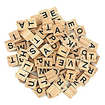 Wooden Alphabet Tiles Scrabble Replacement Letters for Wedding Frame and Wall Art Board Games 100pack