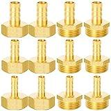 GZhaizhuan - 12 conectores de manguera de 1/2 pulgadas, 8 mm, 10 mm, 12 mm, rosca exterior y rosca interior para manguera de aire, manguera de gas, manguera de agua