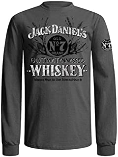 Jack Daniel's Mens Charcoal Grey Long Sleeve Whiskey T-Shirt (X-Large)