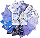 Benartex FQPPRPK Kanvas Pearl Reflections Fat Quarters Quilt Fabric Bundles, Cotton Quilt Fabric Quilting Supplies for Sewing, Pack of 15, Purple