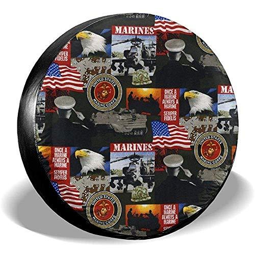 MOLLUDY 16 Zoll, Vereinigte Staaten von Amerika Marines Military Reserveradabdeckung Leder Wasserdicht Staubdicht Universal