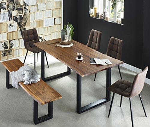 SAM 6 TLG. Essgruppe Ida, Baumkantentisch 160x85 cm & -Bank 160x40 cm, Akazie-Holz Cognacfarben, Gestell schwarz, 4X Schalenstuhl ULF braun