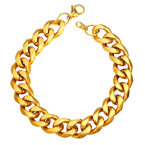 U7 Men's Bracelets Gold Chunky Cuban Link Chain Bangle 12MM Wide 21CM(8.3') Length Gift for Rapper 18K Gold Plated Stainless Steel Jewellery for Boys Teenager Diamond Cut Curb Chain Wrist Bracelet