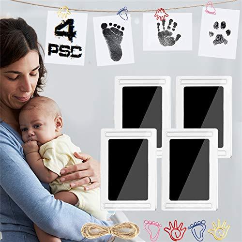 Baby Fussabdruck Set 4pcs, Abdruck set baby für Neugeborene 0-6 Monate, TBoonor Ungiftig Reinigen Stempelkissen kit mit Impressum Karten, Clips und Seil (2. Schwarz-4psc)