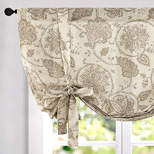 jinchan Tie Up Curtains for Kithcen Living Room Adjustable Tie-up Shade Linen Textured Rod Pocket Medallion Design Jacobean Floral Printed Valance 1 Panel 54 inch Taupe