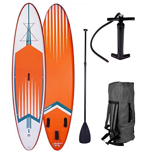 SUP Board Stand up Paddle Paddling Surfboard Pro 3 Modelle 320x76x15cm aufblasbar Alu-Paddel Hochdruck-Pumpe Rucksack Kick-Pad 130KG gewebtes Drop Stitch Orange