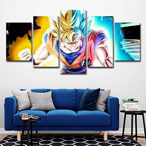 WLQQ Cuadros de Lienzo Decoración Dragon Ball Goku Vegeta Saiyan Pinturas de Arte de Pared para Sala de Estar 5 Paneles de Lona Impresiones Cartel,B,30x40x2+30x60x2+30x80cmx1