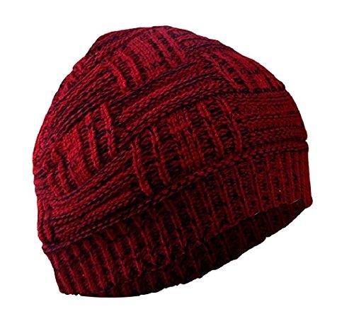 Gajraj Beanie Caps, Woolen Caps, Knitted Slouchy Caps, Skull Cap for Men & Women (Blood Red)
