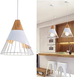 Chao Zan Lustre Moderne Simple, 25CM Suspension Luminaire Créatif Forme de Cône Cage Vintage Lampe E27 Fer et Bois Plafonn...