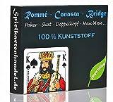 Rommee Karten, Canasta, Bridge aus 100% Kunststoff (Plastik +) Französisches Bild, Skat Poker Mau Mau Spielkarten, Romme wasserfest & abwaschbar