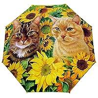 ひまわりと猫2 折りたたみ傘 梅雨対策 晴雨兼用 折り畳み傘 超撥水 軽量 強風対応 紫外線カット 日焼け止め メンズ レディース 持ち運びが簡単