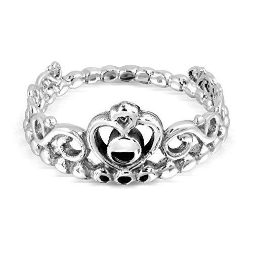 WithLoveSilver - Anillo de Plata de Ley 925 con Forma de Corazón Imperial de la Reina Corona de la Princesa
