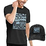 SOTTK Camisetas y Tops Hombre Polos y Camisas,Jack Johnson T Shirts Men's Cotton Short Sleeve T-Shirt with Baseball Cap