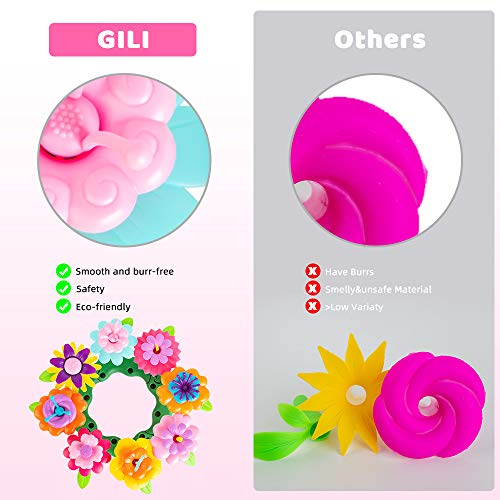 GILI Flower Garden Building Toys, Build a Bouquet Sets for 3, 4, 5, 6 Year Old Toddler Girls, Arts and Crafts for Little Kids Age 3yr Up, Best Top Christmas Birthday Gifts for Creativity Play (120PCS)