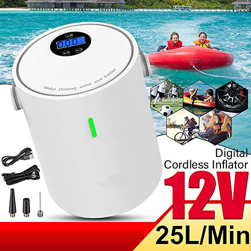 HRRH Tragbarer Luftkompressor, 12V 150PSI USB aufblasbare Handpumpe für Selbstmotorradfahrrad-Ball-Schwimmringe,Weiß