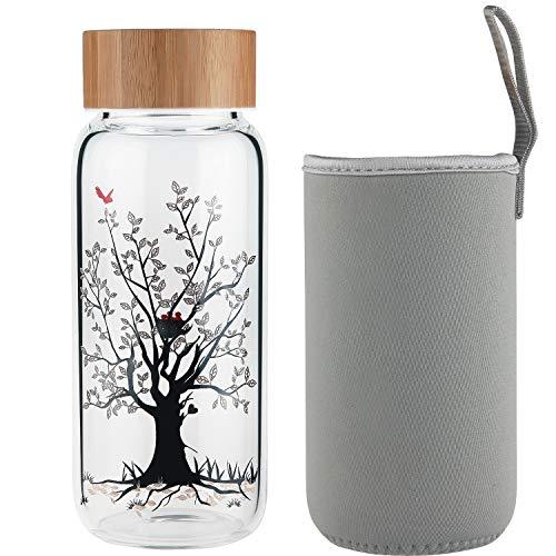 Ferexer Trinkflasche Glas Wasserflasche Glas mit Bambus Deckel 600 ml