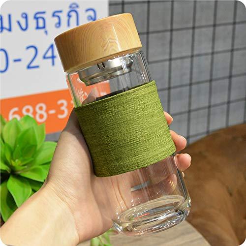 Taza de Ocio con patrón de bambú de Viento Simple con Funda de Tela Funda de Cuero Vaso de Agua de Vidrio Transparente Taza de té de Acero Inoxidable de Alto borosilicato Taza de Oficina