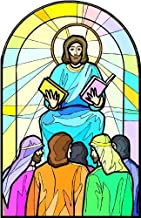 Jesus Christ Sermon on the Mount - Etched Vinyl Stained Glass Film, Static Cling Window Decal