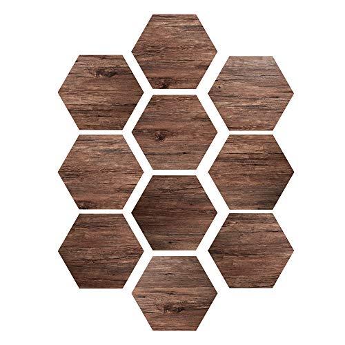 EXTSUD Sechseck Bodenaufkleber rutschfester und wasserfester Holzaufkleber Wandaufkleber Selbstklebende Wandsticker für Fußböden, Badezimmer, Küche, Schlafzimmer 10 Stück (Eiche Stil)