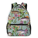 LNLN Mochila Casual para niñas Fish in The Sea Laptop Backpack School Backpack for Men Women Lightweight Travel Casual Durable Daily Daypack College Student Rucksack 11 5in X 8in X 16in