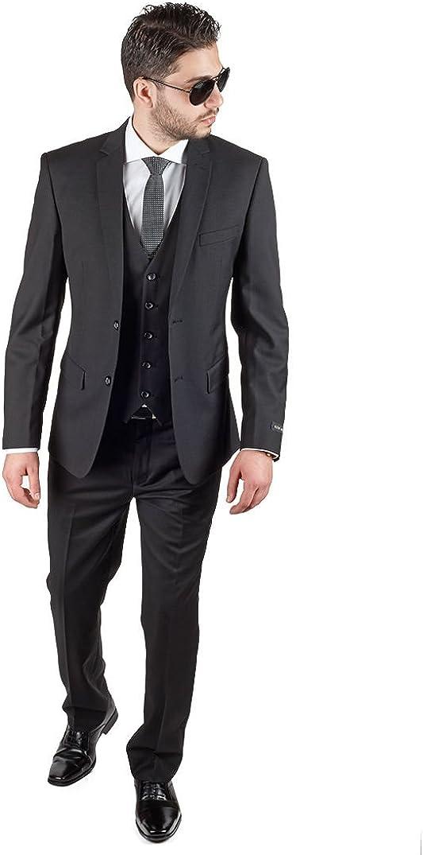 AZAR MAN Slim Fit 3 Piece Vested Solid Black 2 Button Notch Label