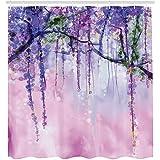 Fmiljiaty Artwork Print Glyzinien Blumen Baum Unscharfe Polyester Stoff Bad Duschvorhang Flieder Aubergine Blue Violet -180 * 180CM