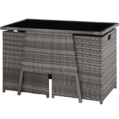 TecTake 800682 Polyrattan Sitzgruppe für 2 Personen, zusammenschiebbar, 2 Stühle & 1 Tisch mit Glasplatte, inkl. Sitz- und Rückenkissen – Diverse Farben – (Grau | Nr. 403097) - 2