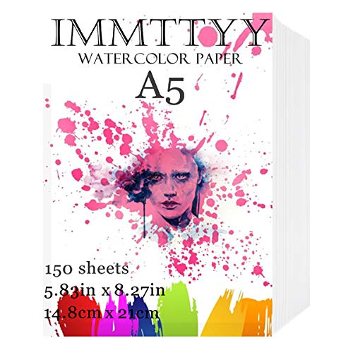IMMTTYY 150 Sheets A5 Watercolor Paper Bulk 5.83x8.27, Oil Acrylic Paint Paper Small Cold Press Watercolor Paper for Most Wet, Dry Media, Ideal for Beginners, Artists and Professionals