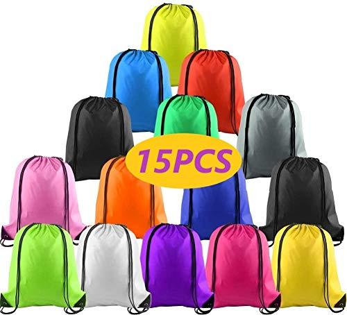 KAHEIGN 15 bolsas con cordón, 14 colores con cordón, bolsa de almacenamiento para gimnasio, mochila de almacenamiento, bolsa de cuerda para escuela, gimnasio, viajes, natación (39 x 34 cm)