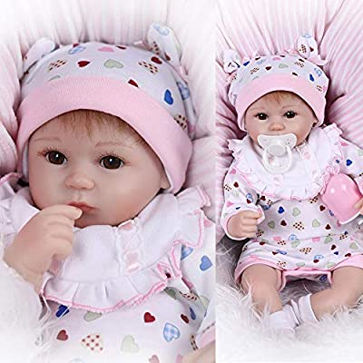 Pinky 42cm 17 Inch Lovely Realistic Reborn Baby Doll Toddler New Born Cute Soft Silicone Lifelike Baby Girl that Look Real Magnet Pacifier