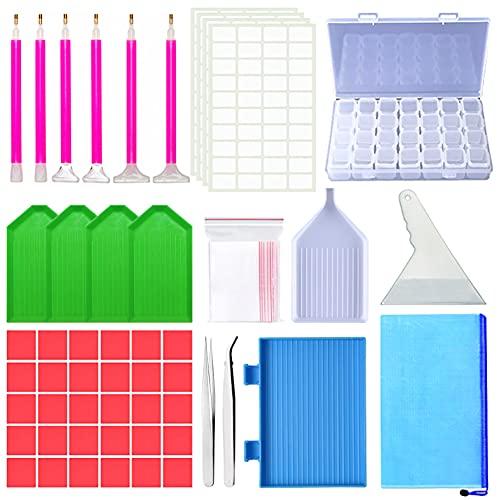 Diamond painting kit,DIY Diamante de Pintura Herramientas,Caja de almacenamiento con bolígrafos,pegamento,platos,pinzas,bolsas,etiquetas,cajas de clasificación y bricolaje
