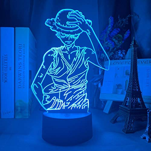 ZMSY - Lámpara de noche 3D con diseño de anime One Piece Monkey D Luffy Figure Kids Night Light LED Color Cambia Atmosphere for Child Bedside Decor Bedside Decor Desk Lamp