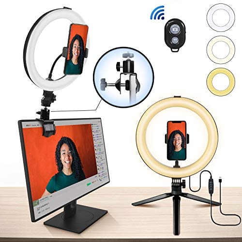"""MACTREM Ringleuchte Mit Stativ,10"""" LED Selfie Ringlicht Mit Super Klemme,Handyhalter, 3 Beleuchtungsmodi und 10 Einstellbarer Helligkeit Tischringlicht für YouTube,TikTok,Make-up,Vlog und Fotografie"""
