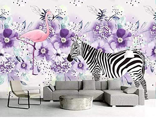 Custom 3D Wallpaper Nordic Fresh Zebra Moving Purple Flower Plant Decorative Painting Background Wall-150Cmx105Cm