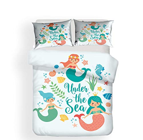 N/S Double bed Duvet Covers Set Mermaid Brushed Microfiber Bedding Set Bed Duvet Cover with Pillowcases-For Adult Children's Bedroom 78.74 x 78.74 inch