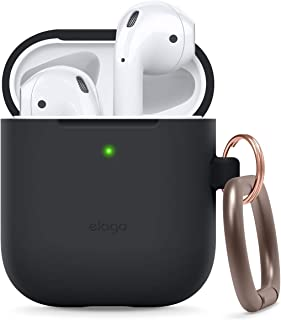 elago AirPods Hang Case [Black] - [Extra Protection] [Added Carabiner] - for AirPods Case