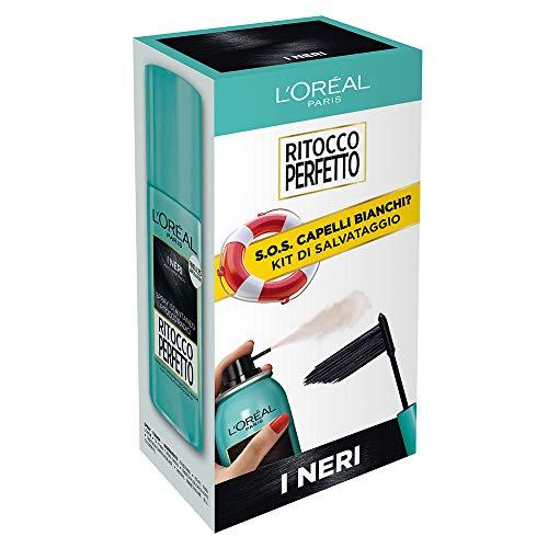 L'Oréal Paris Kit di Salvataggio Ritocco Perfetto, Spray e Mascara per Capelli Bianchi, Ritocco Radici e Tempie, Non Macchia, I Neri